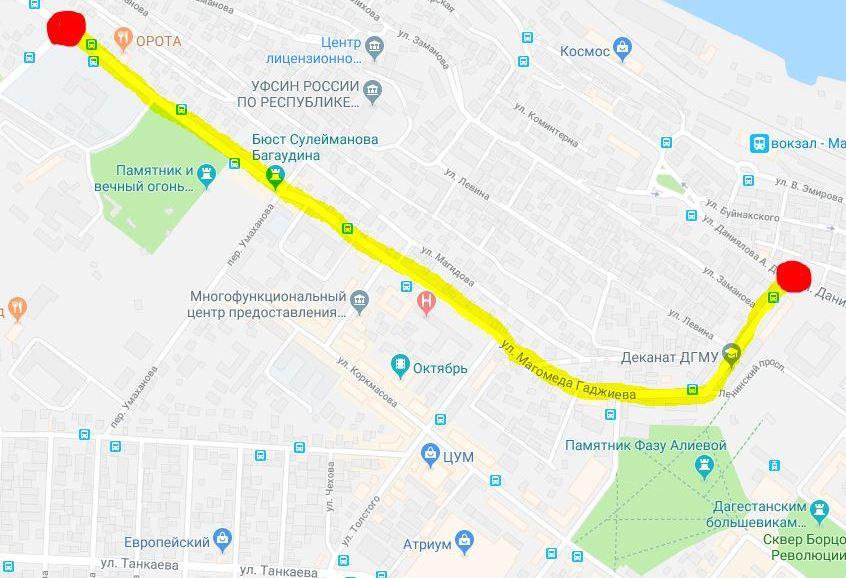 Мэрия Махачкалы предупредила о перекрытии улиц для движения транспорта