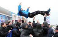 В Махачкале встретили чемпиона мира по ММА Газимурада Магомедова