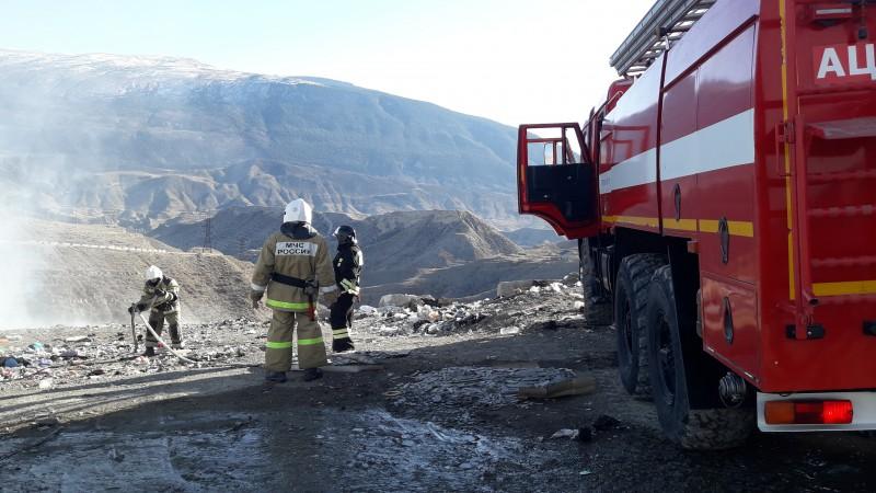 На мусорной свалке в Ботлихе произошел пожар