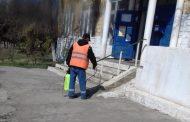 В селе Ахты провели дезинфекцию общественных территорий