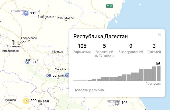 Количество зараженных COVID-19 в Дагестане достигло 105 человек