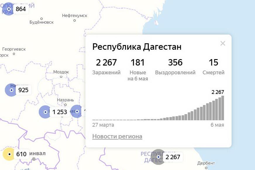 Число заразившихся коронавирусом в Дагестане увеличилось еще на 181 человека