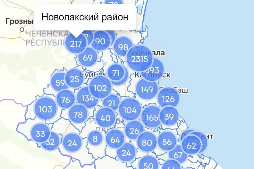 COVID-19 в Дагестане: около 400 заражений в Каспийске и более 200 – в Новолакском районе