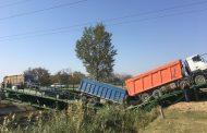Рухнул пролет временного моста на дороге Хасавюрт – Бабаюрт