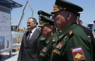 Сергей Меликов и Сергей Шойгу осмотрели объекты, строящиеся в рамках передислокации Каспийской флотилии
