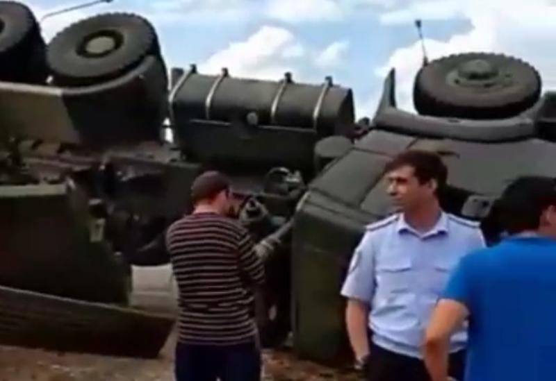 Бронетехника перевернулась в пригороде Хасавюрта