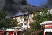 В Махачкале горит крыша пятиэтажного дома