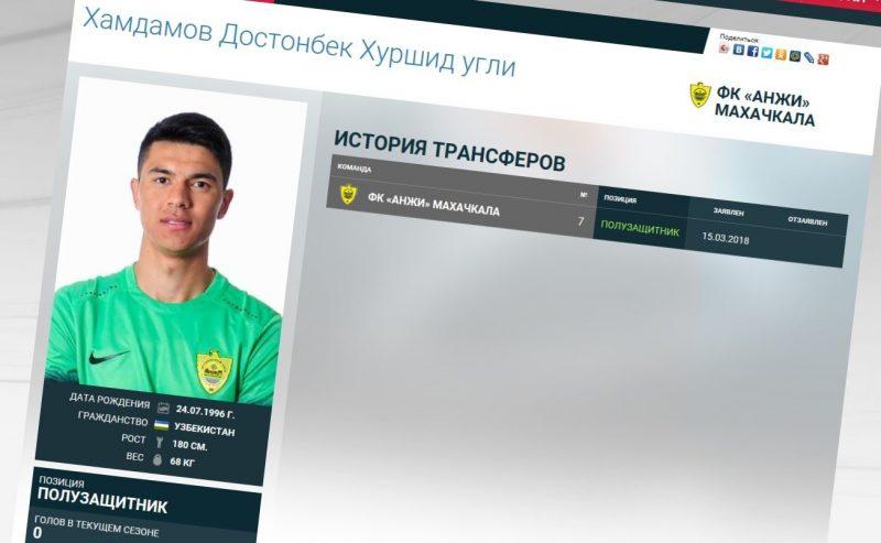 Полузащитник Достонбек Хамдамов заявлен за