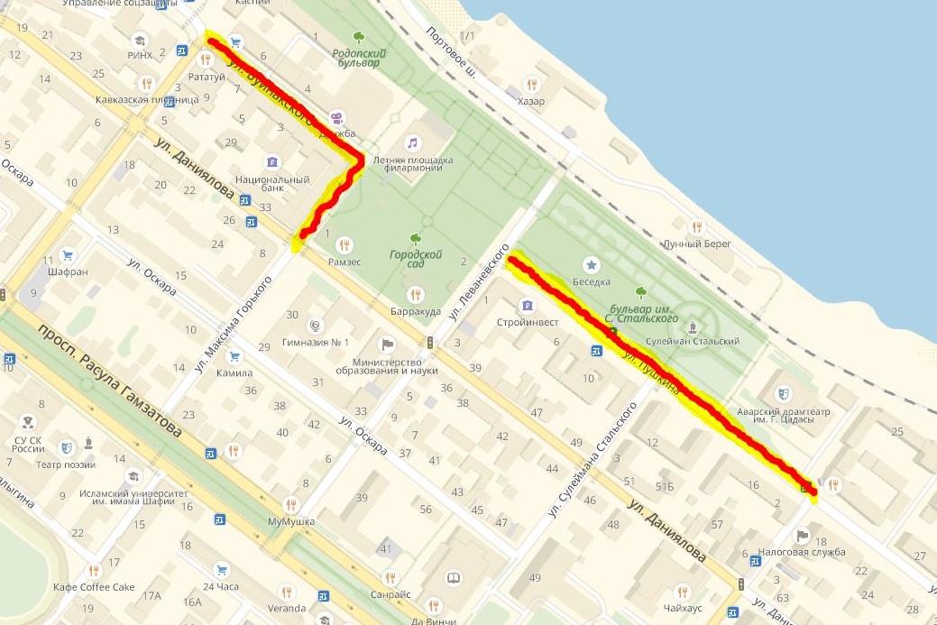 В воскресенье в Махачкале будет перекрыто несколько улиц